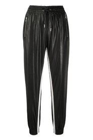 Leather effect jogging trousers