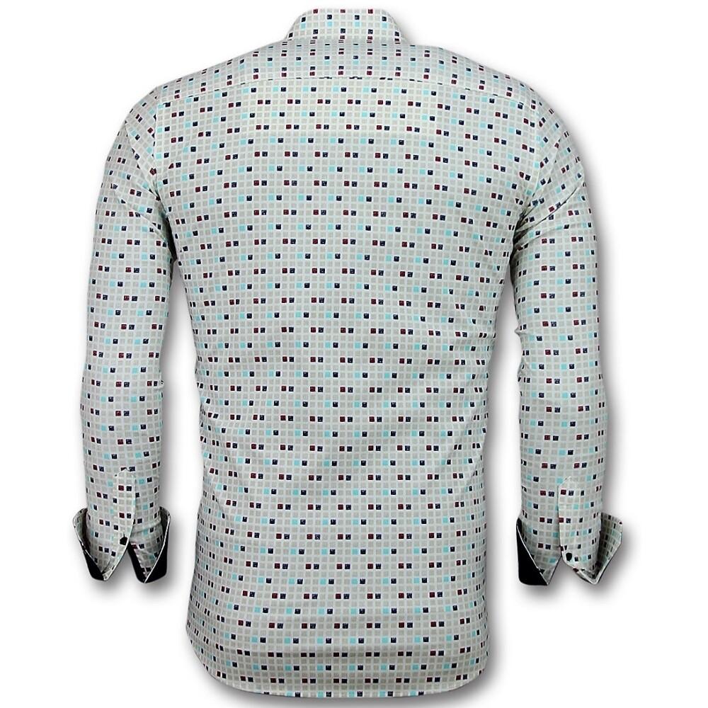 Beige Tetris Motif Shirt 3023 | Tony Backer | Koszule na co dzień - Najnowsza zniżka sHkmn