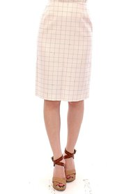 Cotton Checkered Pencil Skirt