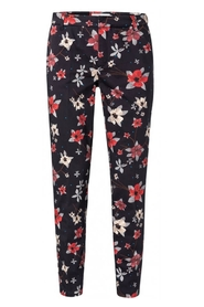 YAYA - Trousers with all-over flower print - Black Dessin