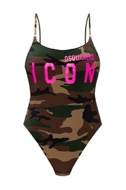 One-piece swimsuit with logo