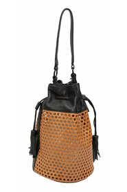 Perforated Leather Bucket Bag