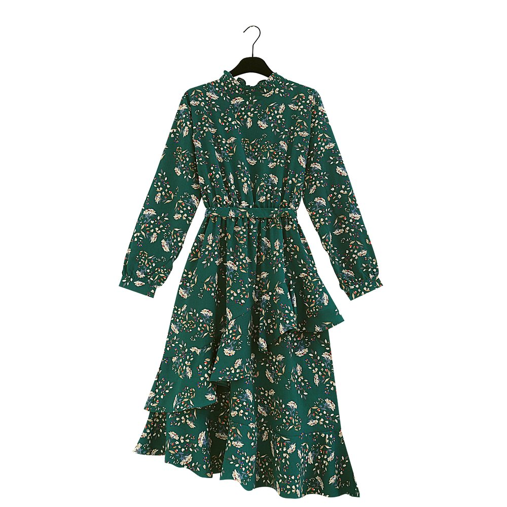 ROSALINDA Green Flower Print Ruffle Dress