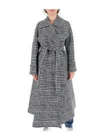 Houndstooth check belted coat