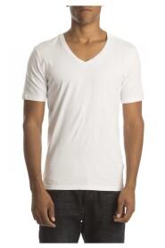 Petrol T-Shirt Stretch V-Hals White( 2p)