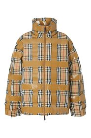 Vintage check quilted down jacket