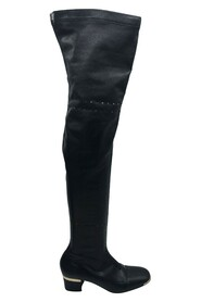 Over the knee boots with eyelet hole pattern