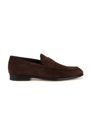 Suede square toe loafers