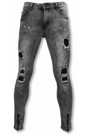 Exclusieve Biker Jeans - Slim Fit Damaged Jeans With Paint Drops