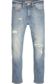 CALVIN KLEIN IB0IB00002 TAPARED JEANS Boy DENIM LIGHT BLUE