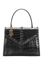 Croc Embossed Leather Handbag