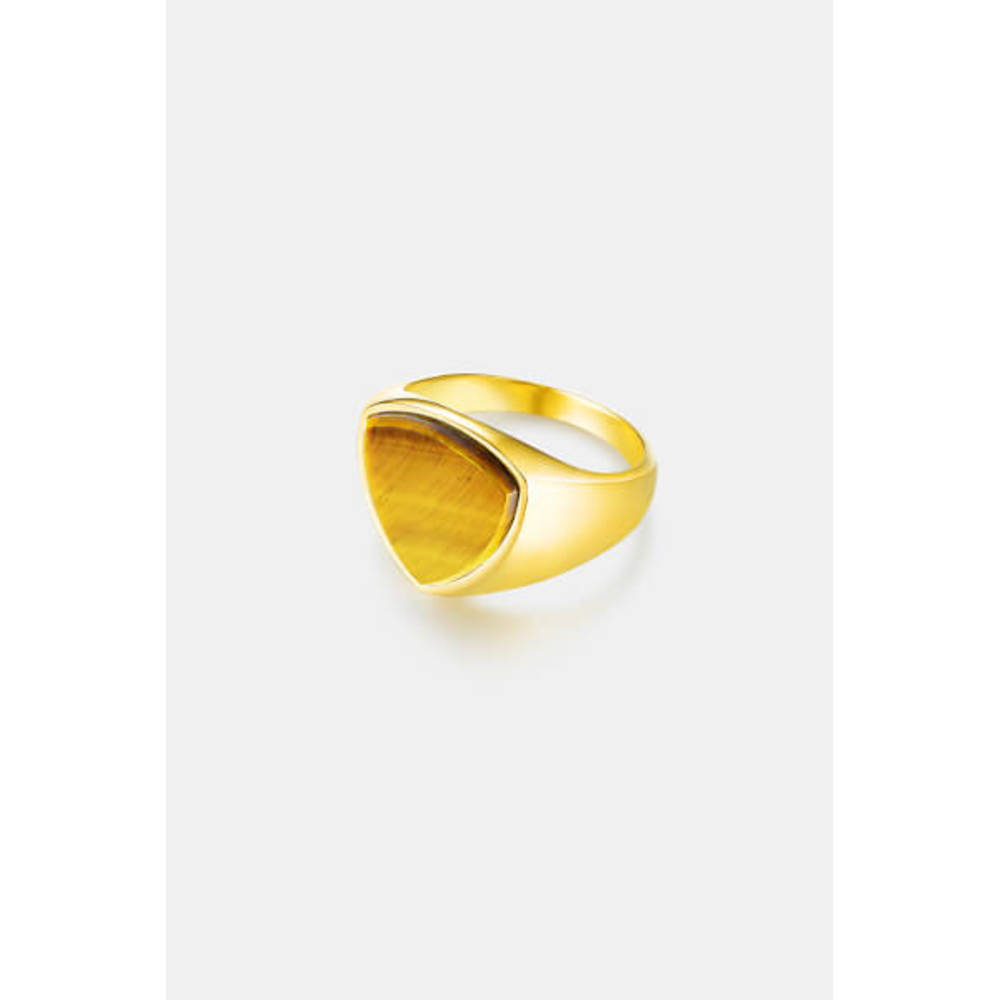 Tigereye Polygon Signature Ring