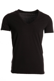 Hom T-Shirt V-Neck Stretch Zwart