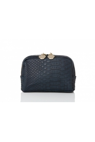 Lulu`s BEAUTY COSMETIC BAG SNAKE STRUKTUR navy