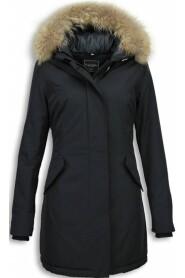 Vinterfrakke Uldig lang pelskrave