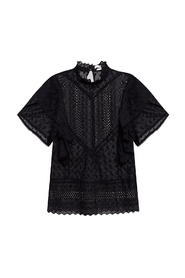 Short-sleeved openwork top