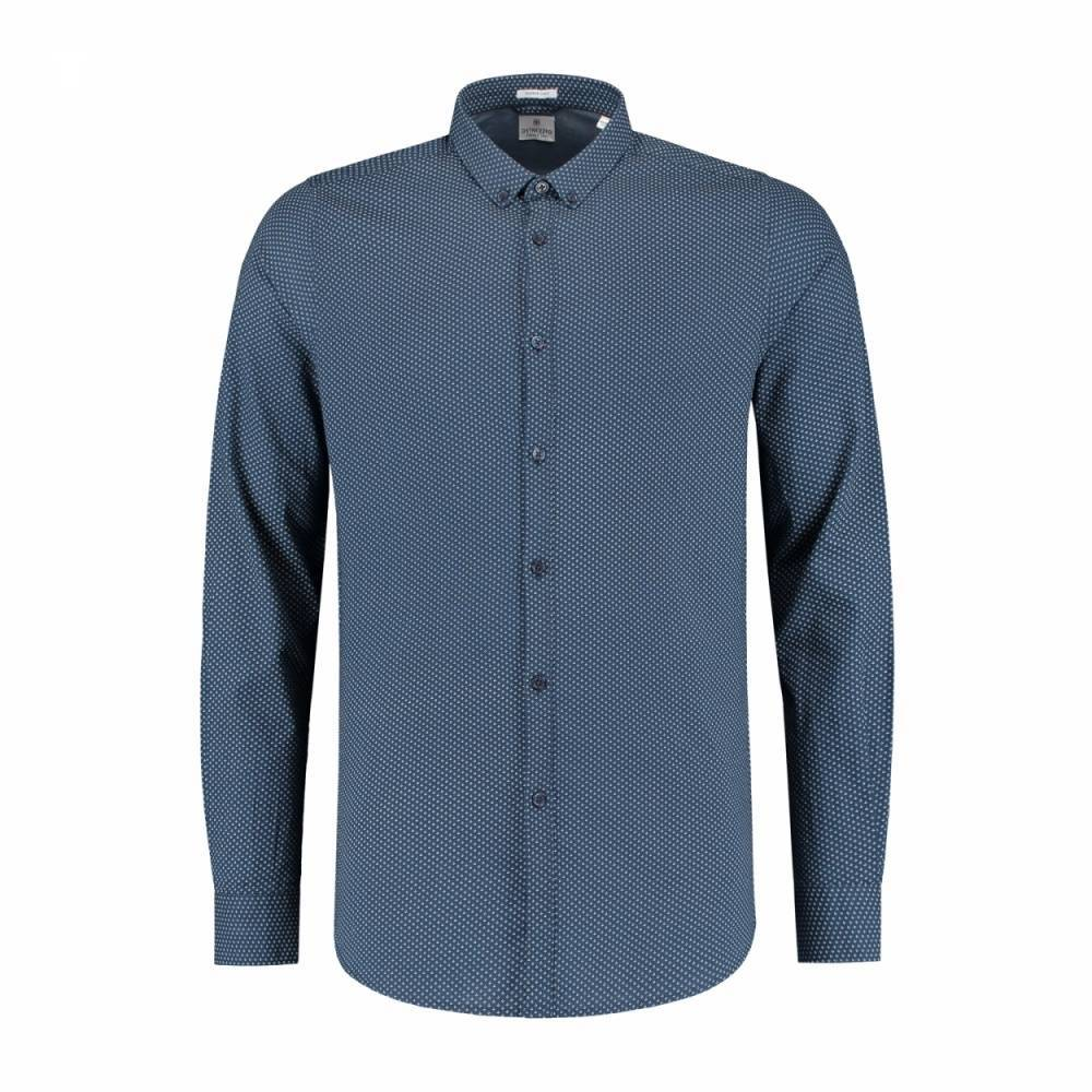 Shirt small fine jaquard navy shirt