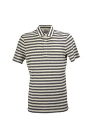 Cotton and linen slim fit polo shirt