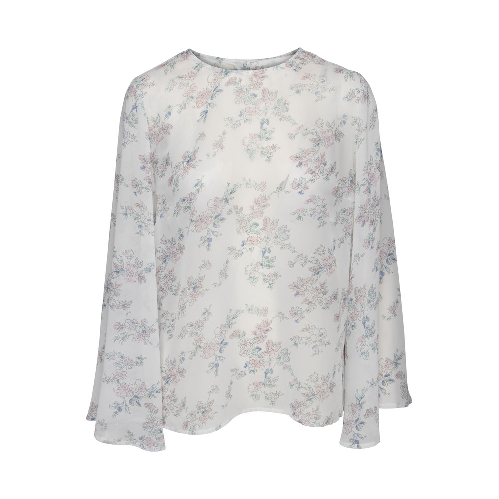 Line of Oslo Betty Flower Blouse White