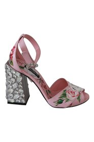 Pink Floral Leather Crystal Sandals