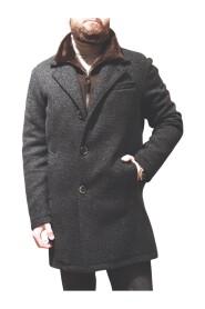Mantel mit Ledereinsatz