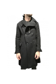 Double breasted coat with zip collar