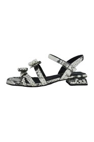STRIPED PYTHON SANDAL AND HEEL BOW