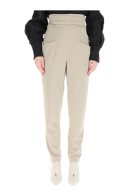 trousers with draped waist