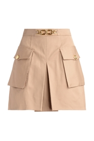 Taupe skirt with double pocket and horsebit