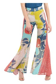 Mix-patterned wide leg trousers