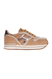 H222 beige nabuck sneakers with wool inserts