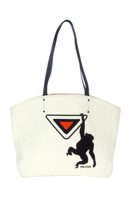 Pre-owned Canapa Monkey Logo Shopping Tote Bag