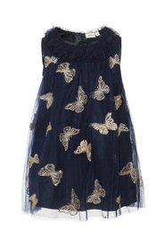 Dress butterfly embroidered tulle