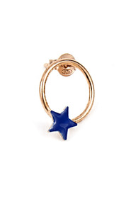 MONO EARRING CIRCLE WITH BLUE GLAZED STAR