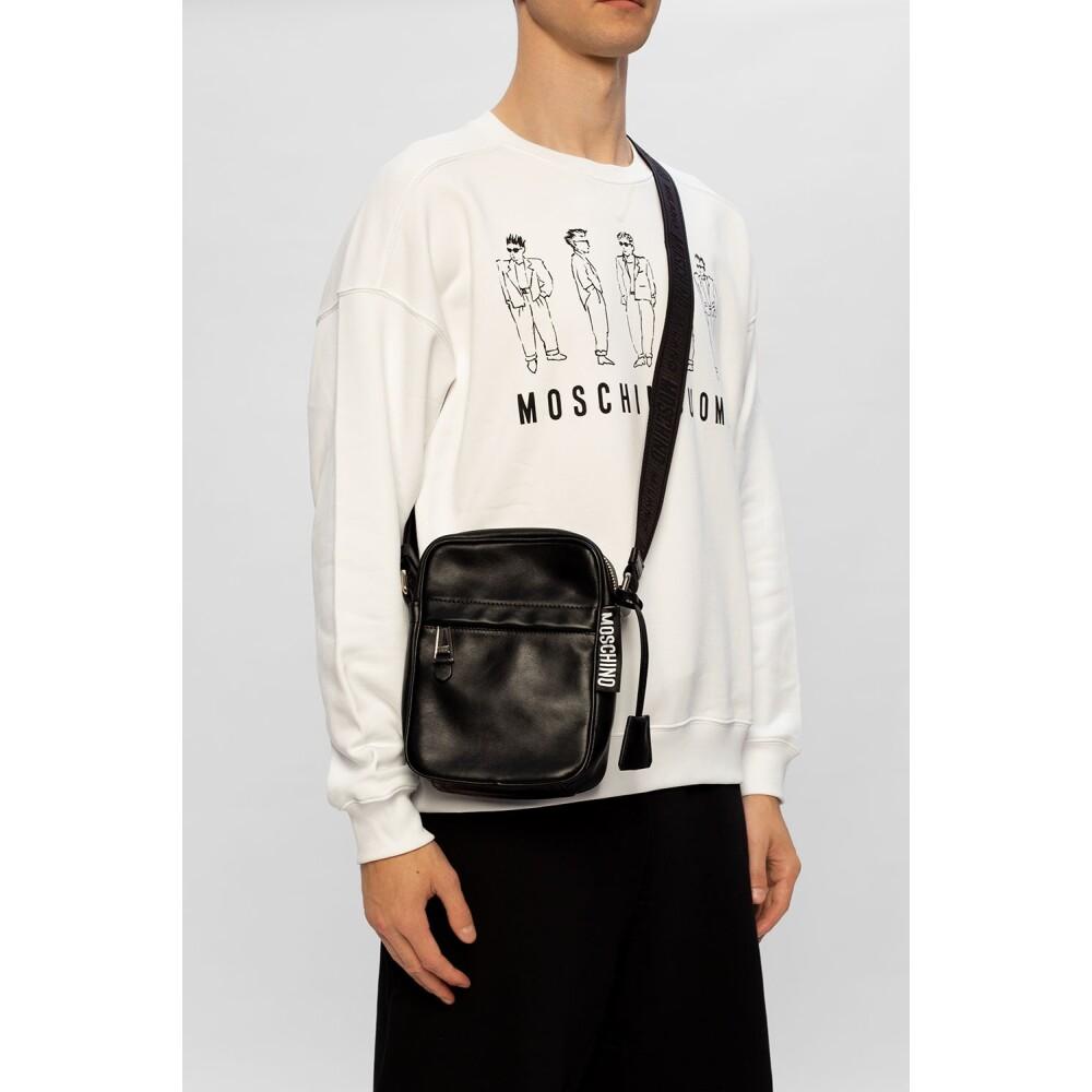 Black Leather cross-body bag | Moschino | Schoudertassen | Herentassen