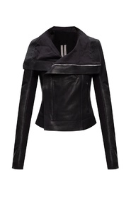 Collared leather jacket