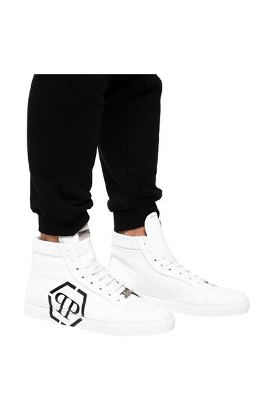 WHITE High ankle sport shoes with a logo | Philipp Plein | Sneakers