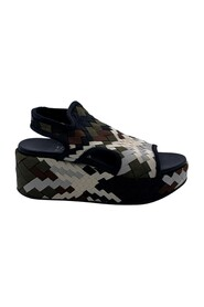 Woven Fabric Wedge Sandals US 7 EU 37.5