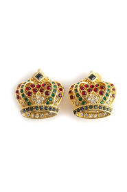 royal crown clip earrings