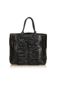 Gathered Leather Tote Bag