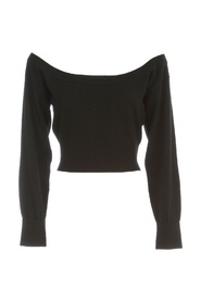 FITTED CROPPED L/S PULLOVER WITH SHEER YOKE