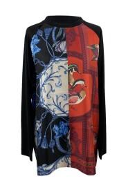 Blus med patchwork silke