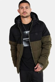 Urban Classics Hooded 2-Tone Puffer Jakke Dark Olive/Black