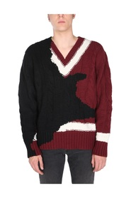 SWEATER WITH INK BLEEDING INLAY
