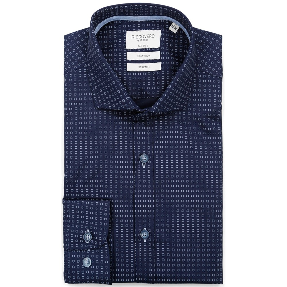 Navy Microprint Herre Leo Tailor Fit Shirt