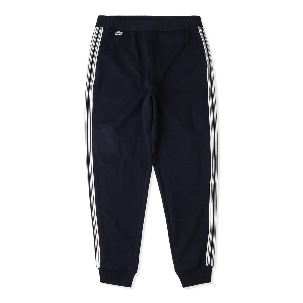 Sweatpants with logo and vertical stripes