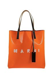TWO-TONE SHOPPING BAG WITH FRONT LOGO