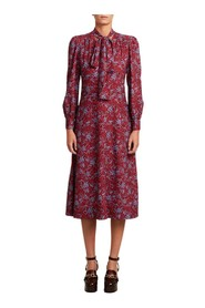 Long sleeves flower print mid-length dress