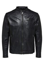 Sort Selected Homme Tylor Leather Jkt Jakke