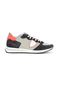 Tropez X sneaker in suede and gray and red fabric